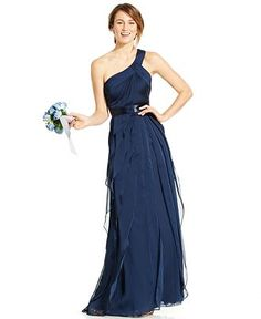 Bridesmaid Dress: $199 Adrianna Papell One-Shoulder Tiered Chiffon Gown - Adrianna Papell Dresses - Browse - Macy's