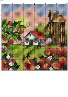Seasons 2 5 of 8 Cross Stitch House, Mini Cross Stitch, Funny Cross Stitch Patterns, Cross Stitch Designs, Cross Stitching, Cross Stitch Embroidery, Pixel Art, Pixel Crochet Blanket, Broderie Simple
