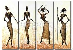 African Girls Dance In Gold-Modern Canvas Art Wall Decor-Abstract Oil Painting Wall Art with Stretched Frame Ready to Hang Modern Canvas Art, Abstract Canvas Art, Oil Painting Abstract, Woman Painting, Afrique Art, African Paintings, African Girl, Painting Wallpaper, Afro Art