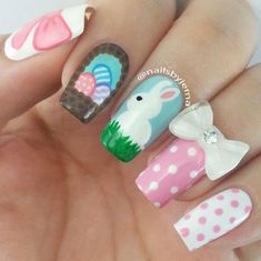 If you're looking for cute nail art designs for Easter, you're in the right place! Our collection of 32 Easter nail designs will certainly inspire you and stimulate your creativity. Your nails shouldn't be ignored this year. Easter Nail Designs, Easter Nail Art, Cute Nail Art Designs, Holiday Nails, Christmas Nail Art, Cute Nails, Pretty Nails, Hair And Nails, My Nails
