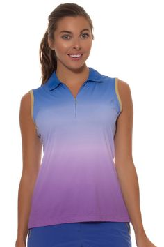 LAVA OMBRE DIP DYE ZIP SLEEVELESS GOLF SHIRT