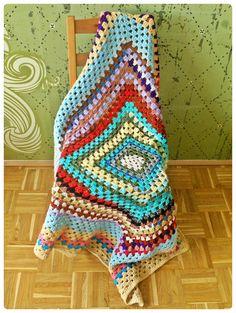 rainbow square granny Rainbow, Blanket, Crochet, Ceilings, Rainbows, Rain Bow, Crochet Crop Top, Chrochet, Rug