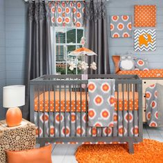 Baby Nursery, : Unique Baby Nursery Room Decoration With Grey And Orange Theme Complete With Grey Curtains, Round Shaped Rug Plus Nice Table Lamp And Other Decorations