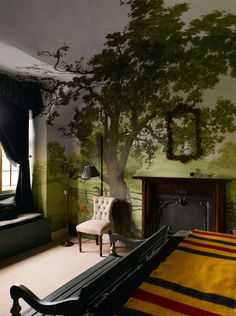 Crazy delightful room with the tree mural growing into the ceiling too. Interior Walls, Interior And Exterior, Interior Design, Tree Wall Murals, Tree Wall Painting, Wall Art, Wall Murals Bedroom, My New Room, My Dream Home