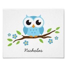 Cute owl personalized nursery wall art for boys print