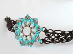 Macrame mandala flower textile bracelet boho by KnottedWorld