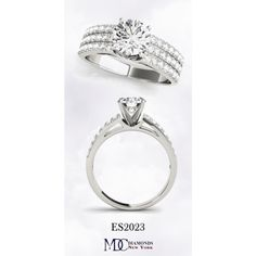 ES2023 Triple Row Cathedral Diamond Engagement Ring by mdc-diamonds on Polyvore Diamond Engagement Rings, Cathedral, Diamonds, Jewels, Polyvore, Jewelery, Diamond, Gem, Jewlery