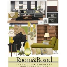 """""""Room & Board Dream Living Room Contest Entry 7"""" by lacindasarco on Polyvore"""