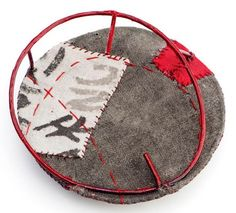 Myung Urso - Brooch: Hometown 2011 (via Klimt02)  Natural dyed silk, thread, sterling silver, lacquer