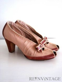 1940s Vintage High Heels | vintage 1940s SEPiA bow high heel shoes by shopREiNViNTAGE on Etsy