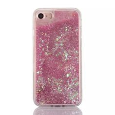 Cascading Iridescent Confetti and Pink Glitter Sand Case for your iPhone 7. High…