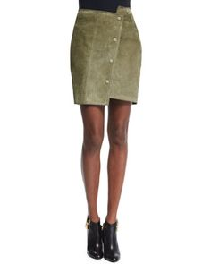 "Asymmetric Snap-Front Mini Skirt, Military Green by TOM FORD at Neiman Marcus. TameLadySA remembers this as the color formerly known as ""Forest Green."" Not mad though,still a hot little gem!"