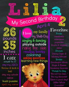 Daniel Tiger Birthday Chalkboard - Girl Daniel Tiger Party - All About Me Poster…