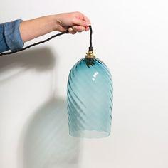 Twist Pendant Lamp Steel Blue by Monmouth Glass Studio