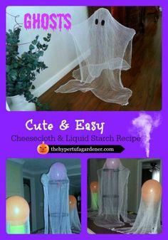 CheeseclothGhosts -Halloween decorating idea - The Hypertufa Gardener
