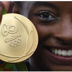 Close up of one side of the 2016 Rio Olympic Gold Medal