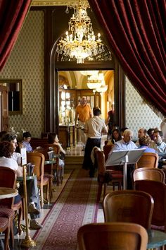 Café Gerbeaud in Budapest ~ The café is renowned for its richly decorated furnishings.