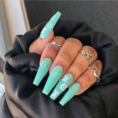 Teal Nails: 40 Teal Color Nail Designs You Will Fall in Love – Neauty ideas Teal Acrylic Nails, Teal Nails, Aycrlic Nails, Summer Acrylic Nails, Hair And Nails, Nail Nail, Nail Polish, Clear Acrylic, Tiffany Blue Nails