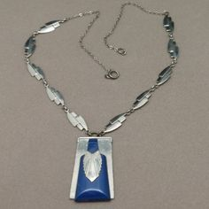 Jakob Bengel Art Deco Chrome and Galalith Necklace