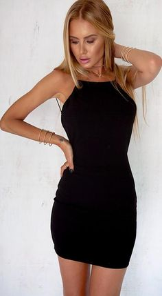 Classic black short dress with backless design, spaghetti strap, bodycon silhouette. It's perfect that can highlight your beautiful curve, make you feel sexy and more feminines. Size: S,M,L Color:Blac