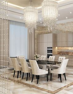 Contemporary dining room furniture is very affordable and appeals to a variety of homeowners as their standard dining room furniture … Elegant Dining Room, Luxury Dining Room, Dining Room Sets, Dining Room Design, Dining Area, Interior Desing, Luxury Homes Interior, Luxury Home Decor, Deco Design
