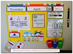 Want to add a calendar board to your schoolroom? Set it up quick and easy with these Calendar Board printables! Great for both classrooms and homeschool! Classroom Setting, Classroom Setup, Classroom Displays, Kindergarten Classroom, Classroom Design, Kindergarten Focus Walls, Teaching Tools, Teaching Math, Classroom Calendar