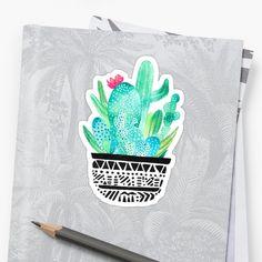 'Pot Me A Cacti! Dots' Sticker by amayabrydon Cactus Stickers, Watercolor Cactus, Canvas Prints, Art Prints, Duvet Covers, Deserts, Finding Yourself, Dots, Bird