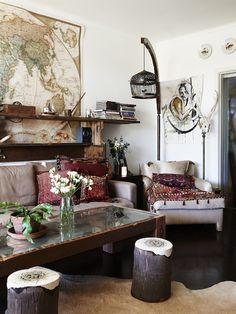 map + boho touches