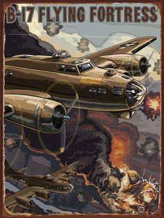 B 17 Flying Fortress Metal Sign, Ww Ii European Theatre Action Air Battle Scene
