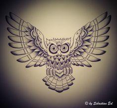 Oldschool: Owl (third eye) by Sebastian Exl, via Behance