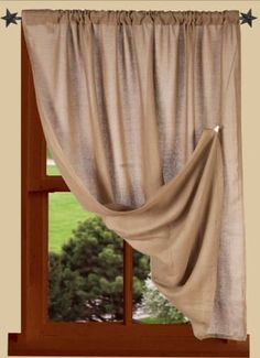 Heirloom Oat Curtain Panel 40 x 45 Primitive Curtains, Rustic Curtains, Country Curtains, Diy Curtains, Colorful Curtains, Primitive Bedroom, Kitchen Curtains, Primitive Homes, Primitive Kitchen