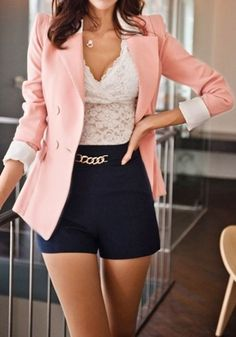 Cute Outfit. I would trade the top for a white button down with detail and the shorts for a pant or below the knee skirt. Love the jacket.