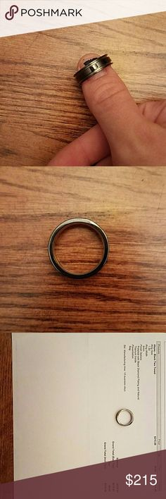 Men's titanium wedding ring Got worn the night of the wedding that's it. Like new condition. Size 7.50  Ring width 6mm  Polished with black Diamond plating and natural titanium inside. Jewelry Rings