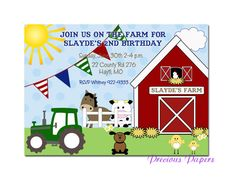 Farm birthday invitations Farm Birthday Party by mypreciouspaper