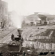 "1864. ""Atlanta, Georgia, railroad yards."" Wet plate collodion glass negative, left half of stereograph pair, by George N. Barnard.  (via Shorpy Historical Photo Archive :: Atlanta Depot: 1864)"
