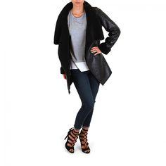 Black Faux Leather Coat-SIENNA & BELLINI - Outerwear - Women