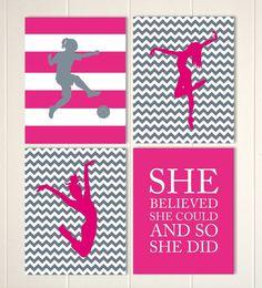 Dancer, soccer girl, sports art for girls, girls motivational art, girls room art, girls bedroom, Set of 4 prints by PicabooArtStudio, $28.00