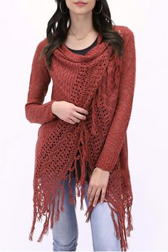 This new fringe two-way knit cardi from Grace and Lace is a new favorite! The open knit slub yarn plus two ways to wear makes it the perfect year-round piece. Whether you wear it open like a cardigan over your favorite tee or button it up at the shoulders like a wrap sweater you have not one but two wearable options that will make you look fabulous!  Color is Canyon Clay - turquoise purple or lavender or even apricot or peach accessories are beautiful with it and really pops the color!  To…