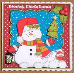 Card Gallery - 8 x 8 Christmas Snowman Oli's Xmas Tree Scalloped Topper