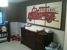 baby boy nursery, love the firetruck panel idea. And the colors are amazing! Not your typical nursery at all. I also love the dresser doubling as a changing table. So simple to reuse as he grows older.