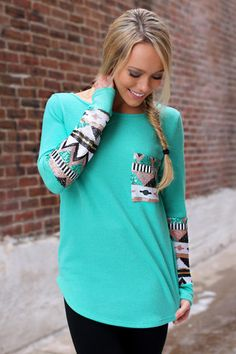 Mint Sequin Sleeve Tunic | UOIOnline.com: Women's Clothing Boutique