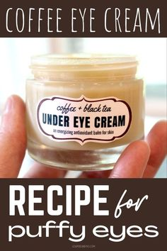 Make this DIY coffee eye cream as a natural puffy eyes remedy for puffy under eye and fine lines and wrinkles. Plant based powerhouse anti-aging beauty moisturizer. The best beauty hack for glowing skin. This black tea & coffee under eye cream recipe is an energizing antioxidant balm that perks up tired eyes and skin. Puffy eye remedy with plant based ingredients in a homemade beauty moisturizer for maturing skin. The best anti-aging skin care beauty tips and remedy for beautiful skin.