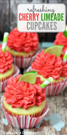 cupcakes rezepte Try these amazing cupcakes! Cherry limeade cupcakes are easy but delicious. They are packed with flavor and are perfect for any Summer Party. No Bake Desserts, Easy Desserts, Dessert Recipes, Pie Recipes, Recipies, Fun Cupcakes, Amazing Cupcakes, Pastel Cupcakes, Cheesecake Cupcakes