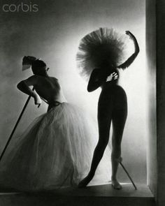 Dramatic costumes and lighting from Salvador Dali's Venusberg ballet, set to the music of Wagner, for the Ballet Russe de Monte Carlo's new season. Gabrielle Chanel assisted in costume design. Circa October 1939.