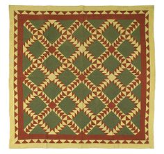 """Wild Goose Chase"" Quilt, - Cowan's Auctionsfrom 1865-1885 all handsew in color red-green-yellow, 84""x84"""