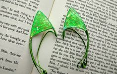 Child Sized Elf Ears  Green Glitter and by TheGreenSorceress
