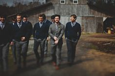 since i want a fall wedding, this is an awesome wardrobe idea; groomsmen wear cardigans instead of suit jackets. i love it. (red white and green photography)