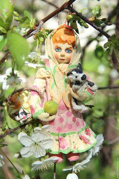 Купить Ватная елочная игрушка Настенька - комбинированный, игрушки, елочная игрушка, весна 2017, куколка