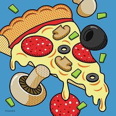Pop Art Digital Art – Pizza On Blue by Ron Magnes Related posts: How to Paint Birds in Oil –. Gravure Illustration, Illustration Art, Illustrations, Pop Art Essen, Pizza Kunst, Art Institute Of Pittsburgh, Pop Art Food, Kunst Party, Pop Art Party