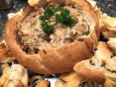 Three Mushroom Dip in Cob Loaf Cut the amount of cream cheese by half.